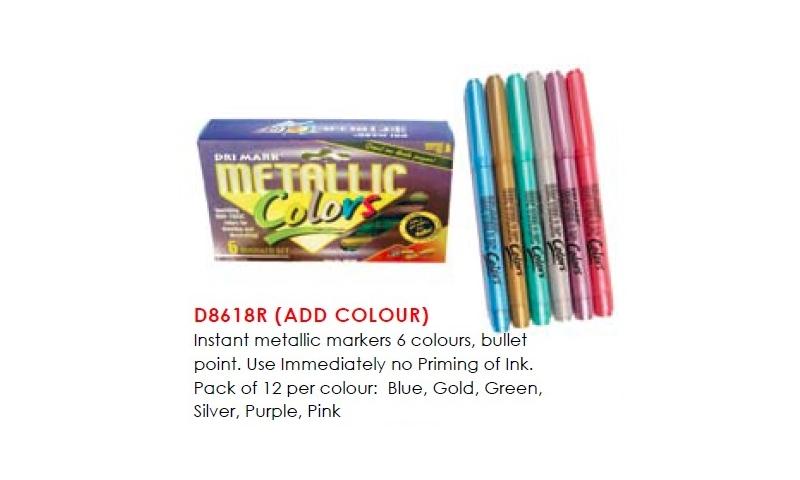 Drimark Instant Metallic Markers, 12pk Asstd cols, Bullet Pt: On Special Offer