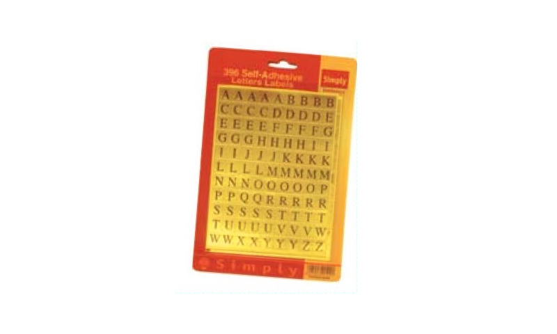 Self Adhesive Gold Alphabet Stickers, 385 in Hangpack: On 2021 Special Offer - Half Trade Price