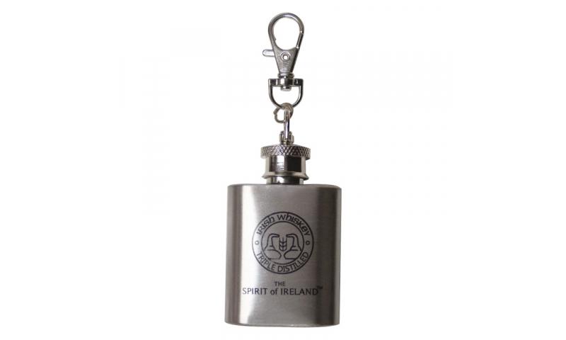 Chrome Mini Hip flask keyring, 1 col print inc.