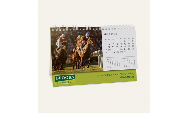 Desk Calendar Landscape Wiro Tent Style Bespoke Full Colour, A5  1 Months to View