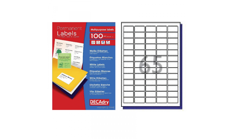 DecAdry White Multipurpose Printer Labels 100 sheet pk 38.1 x 21.2mm 65 per Sheet