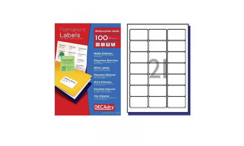 DecAdry White Multipurpose Printer Labels 100 sheet pk 63.5 x 38.1mm 21 per Sheet