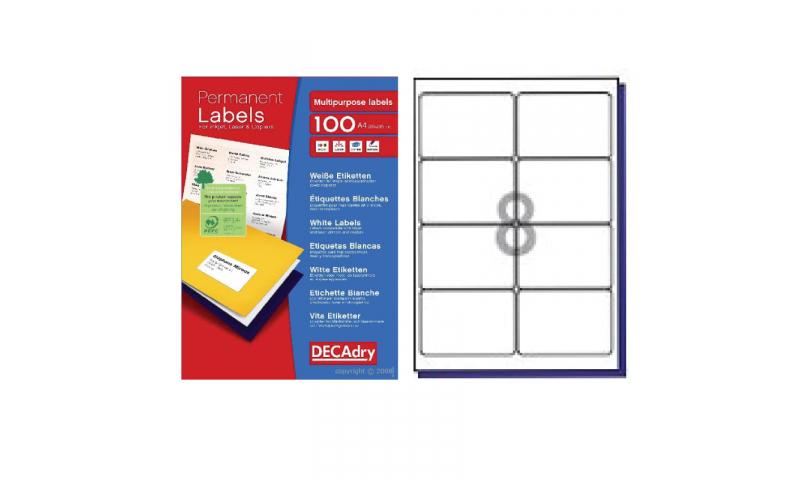 DecAdry White Multipurpose Printer Labels 100 sheet pk 99.1 x 67.7mm 8 per Sheet