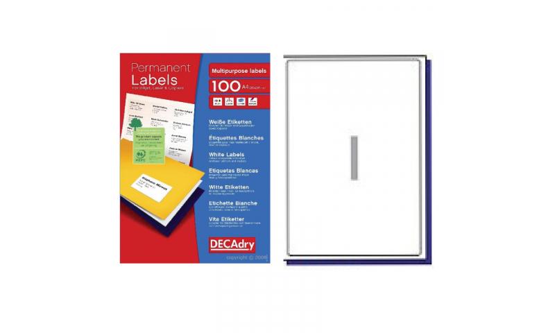 DecAdry White Multipurpose Printer Labels 100 sheet pk 199.6 x 289.1mm 1 per Sheet