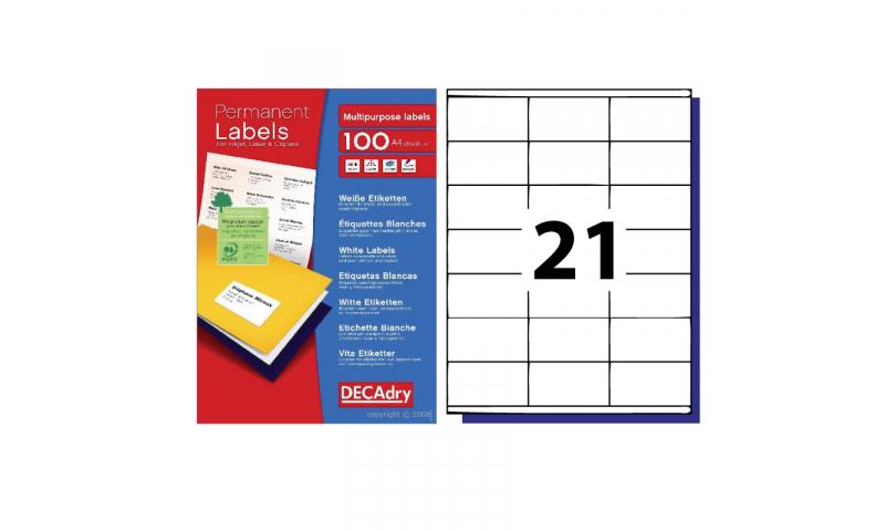 DecAdry White Multipurpose Butt Cutt Printer Labels 100 sheet pk 21 per Sheet