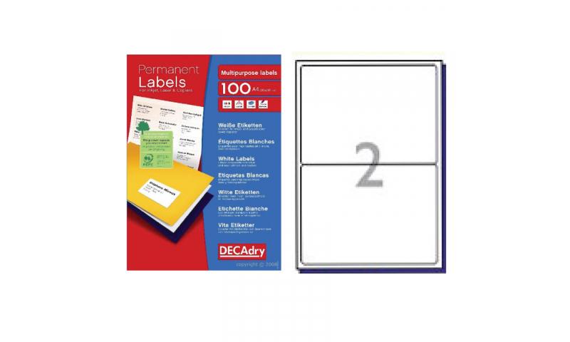 DecAdry White Multipurpose Printer Labels 100 sheet pk 199.6 x 143.5mm 2 per Sheet
