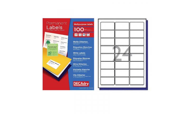 DecAdry White Multipurpose Printer Labels 100 sheet pk 63.5 x 33.9mm 24 per Sheet