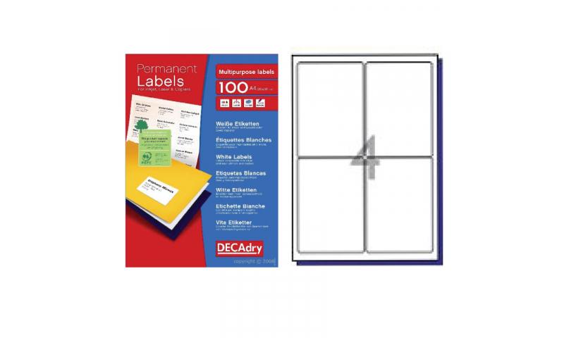 DecAdry White Multipurpose Printer Labels 100 sheet pk 99.1 x 139mm 4 per Sheet