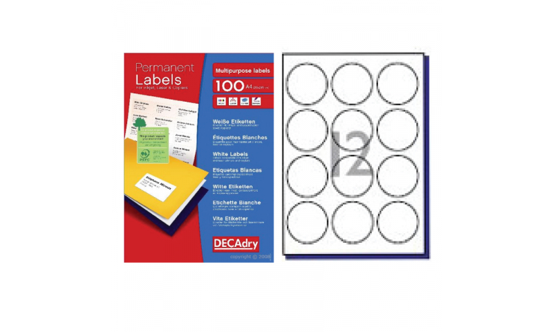 DecAdry White Multipurpose Printer Labels 100 sheet pk  60mm dia Circle 12 per Sheet