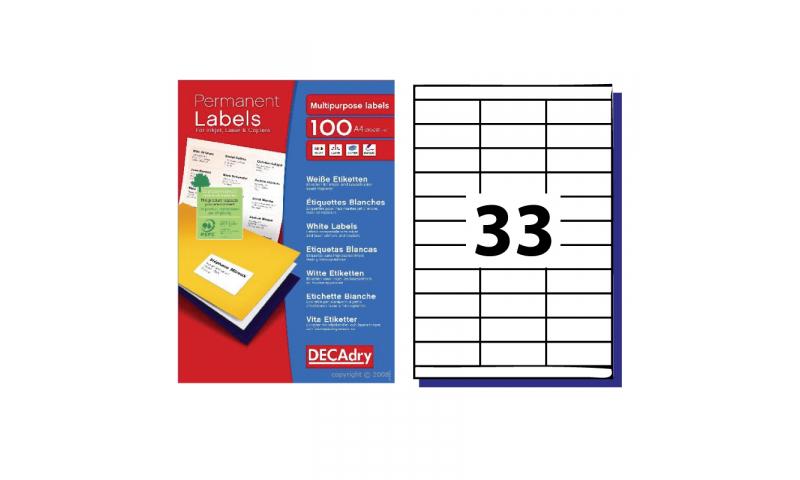 DecAdry White Multipurpose Butt Cutt Printer Labels 100 sheet pk 33 per Sheet