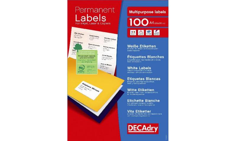 DecAdry White Multipurpose Butt Cutt Printer Labels 100 sheet pk 40 per Sheet