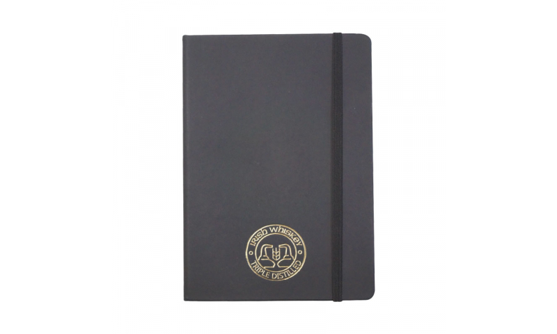 A5 Soft Feel Notebook with lined Paper & Elastic Strap, 1 Col Print / embossed  inc