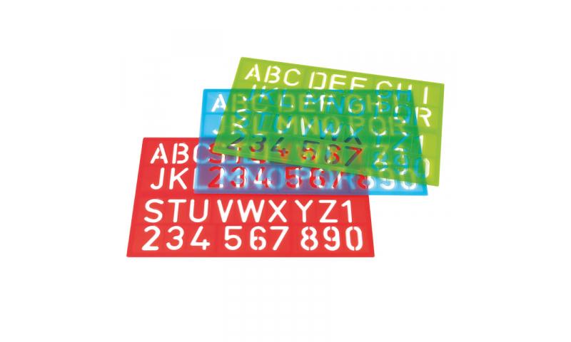 Westcott Jumbo Lettering Stencils, 40mm, 3 Assorted Colours