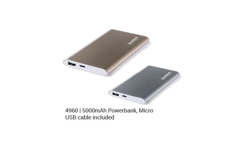 Ëynsteyn High Power Aluminium Power Bank 5000mah, Micro USB cable included, Silver & Gold Asstd