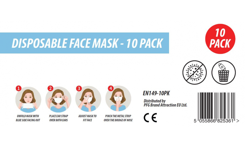 High Spec Disposable Face Masks, Blue 3 Ply, CE Certified - Retail 10 Pack