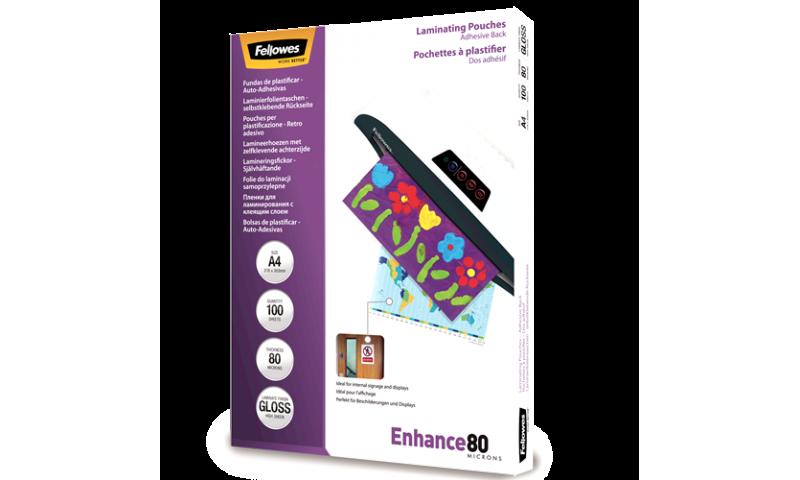 Fellowes A4 80mic (160mic) Adhesive Back Lamination Pouches - box 100
