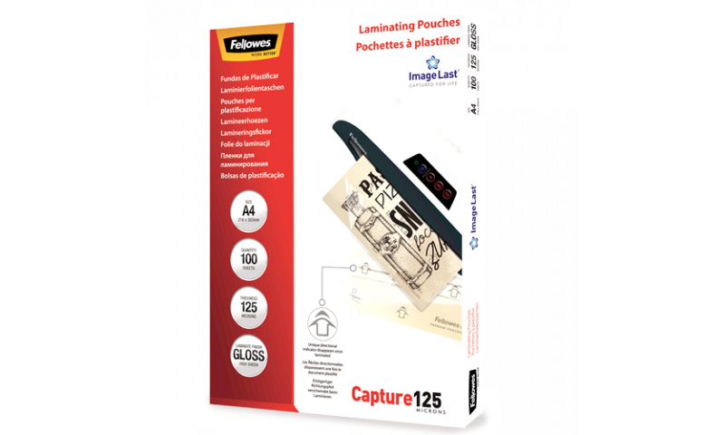 Fellowes ImageLast A4 125mic (250mic) Lamination Pouches - box 100