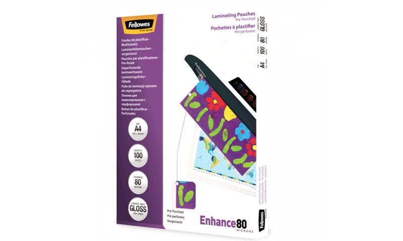 Fellowes Pre-Punched A4 Lamination Pouches 80mic per side