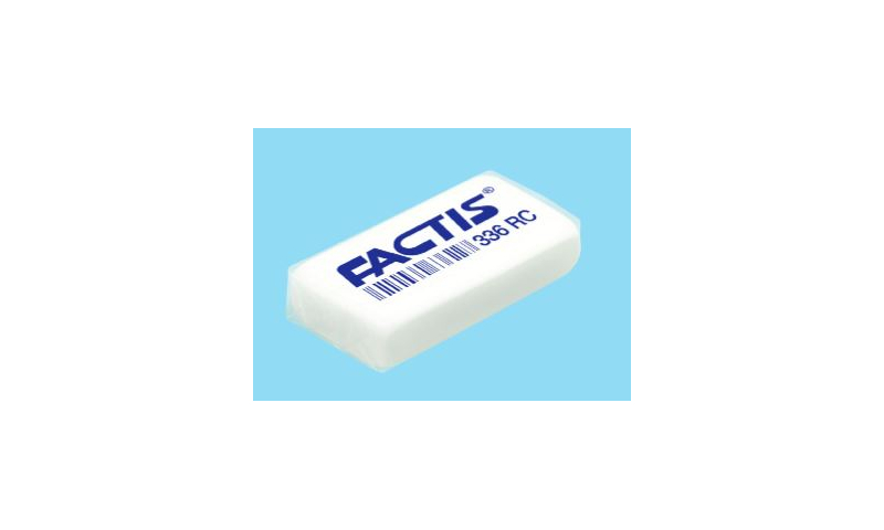 Factis Budget School Pencil Eraser White, Individually Wrapped & Barcoded