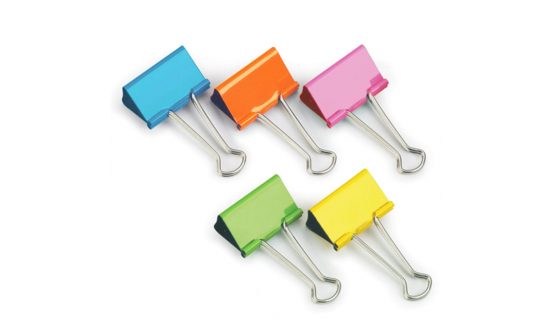 Rapesco 19mm Coloured Foldback clips - Asstd pk 10 (New Lower Price for 2021)