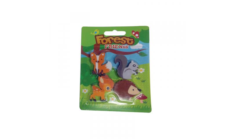 Novelty Forest Friends, 4pk Eraser, Carded