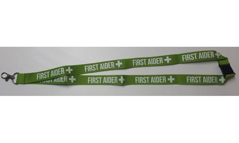FIRST AID Green Woven Polyester 20mm Lanyard, Neck Break & Metal Swivel Hook