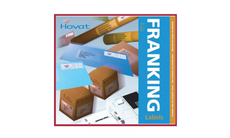 Hovat Franking Machine labels - 2 up 153mm x 40mm