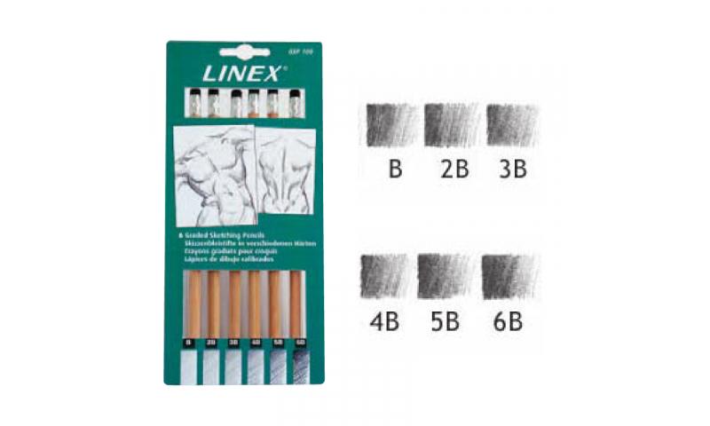 Linex Sketching Pencils 6 pce Set B-6B