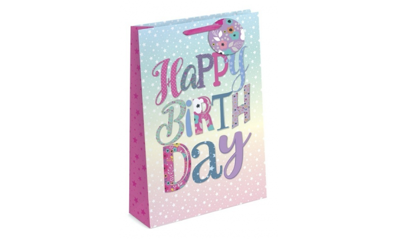 Happy Birthday Gift Bags Large, 320 x 260 x 120mm, Shaped Tag