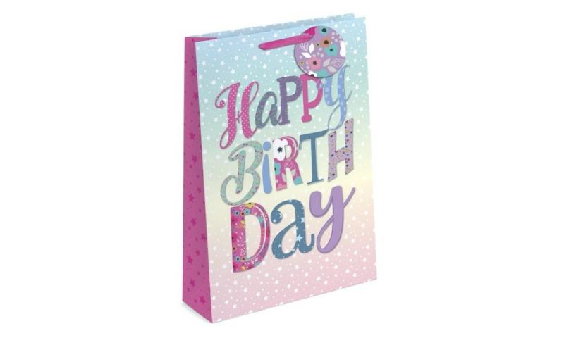 Happy Birthday Gift Bags Medium, 230 x 180 x 100mm, Shaped Tag