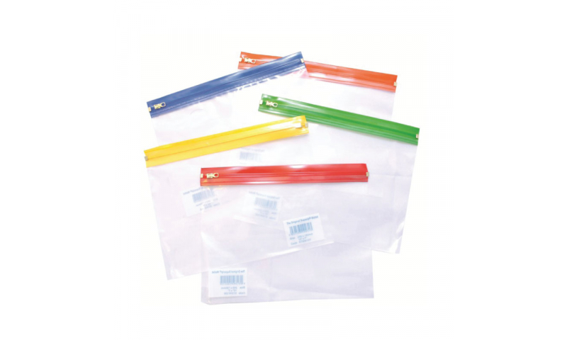 A5 Clear Zipper Wallet with Coloured Top, Pack 25 - 235x180mm