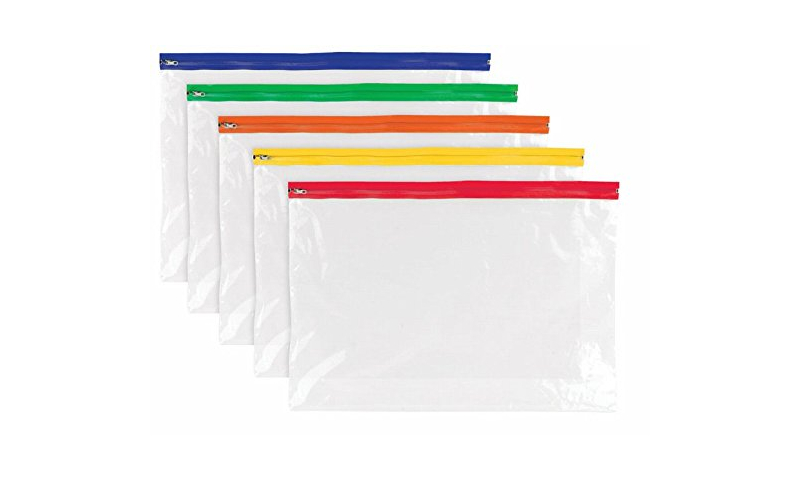 A4 Clear Zipper Wallet with Coloured Top, Pack 25 - 325x230mm