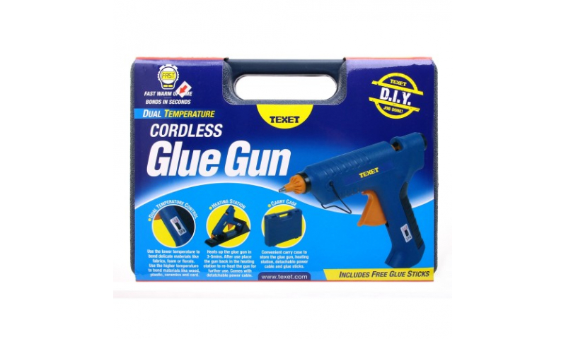 Texet Large Cordless & Rechargeable Glue Gun in Carry case, with 6 11.7mm Sticks