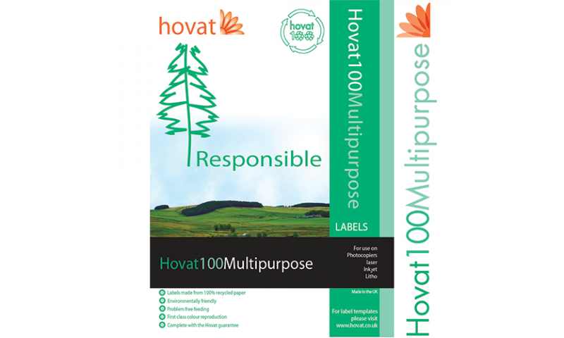 Hovat 100% Recycled & Biodegradable A4 Multipurpose 70g Heavyweight Labels, 99 x 144 mm 4 label per sheet. 100 Sheets per Box