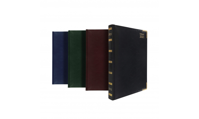 Tara Irish A5 Deluxe Daily Desk Diary 2022, Padded Cover, Cream Paper, Gilt Corners & Gilt Edge Paper, 3 Asstd Colours