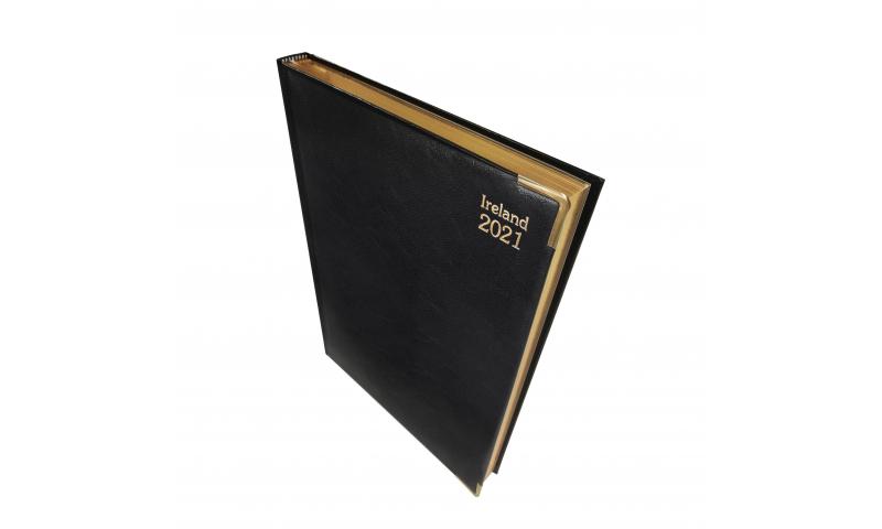Tara Irish A4 Deluxe Padded & Gilt Daily Desk Diary 2022, Cream Paper, 3 Asstd Colours