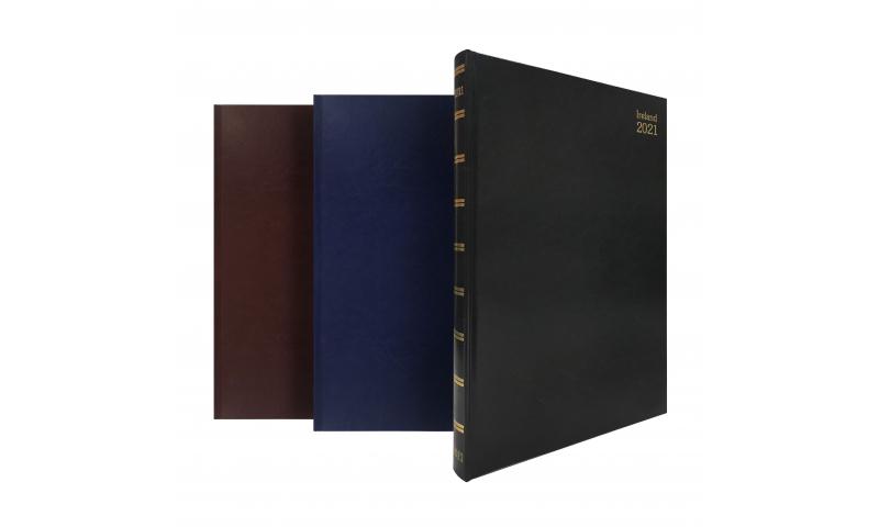 Tara Irish A4 Hardcover Daily Desk Diary 2022, Cream Paper, 3 Asstd Colours