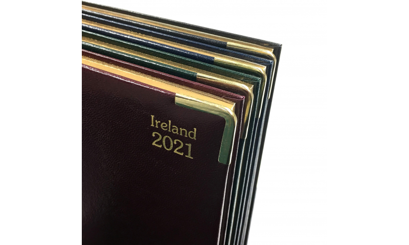 Tara Irish Supreme Deluxe Quarto Weekly Desk Diary 2022, Padded Cream Paper, Gilded, 3 Asstd colours