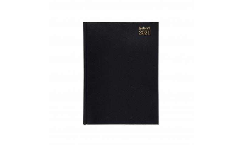 Tara A5 Hardcover Weekly Desk Diary 2022, White Paper, Black