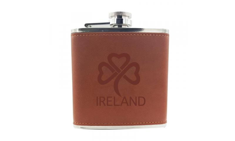 Ireland KeepMe Aluminium & Leatherette Hip Flask 5oz