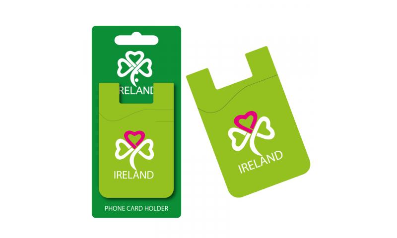 Ireland Shamrock Green/Pink Silicon Credit Card Phone Holder - Hangcarded