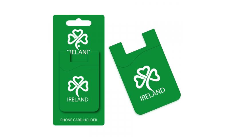 Ireland Shamrock Dark Green Silicon Credit Card Phone Holder - Hangcarded