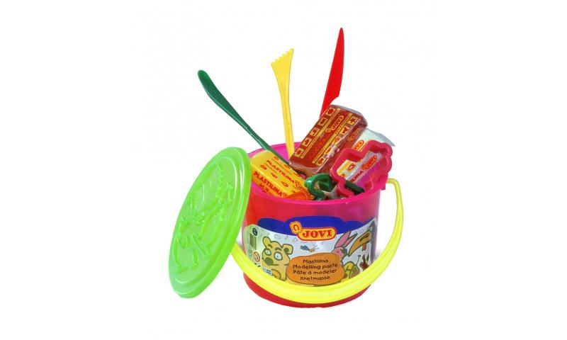 JOVI Plastilina Modelling Clay - bucket of 6, 50g, Playmat + accessories