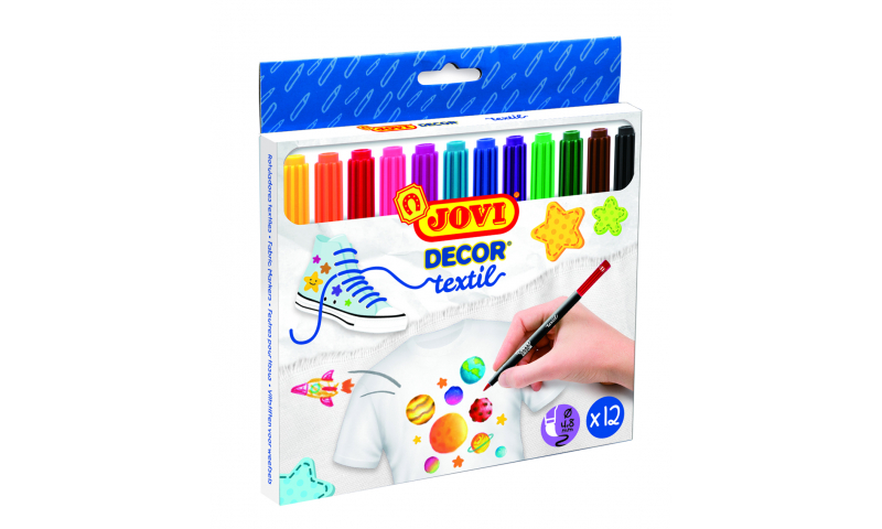 JOVI Decorate Textile Markers Hangpack of 12 assorted colours
