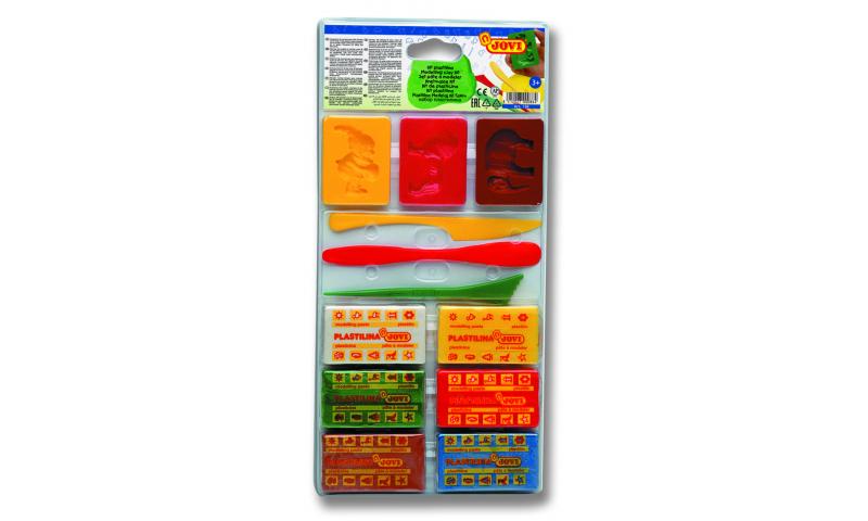 JOVI Plastilina Modelling Clay, 6 x 50g Primary Bars & 6 Accessories in Case