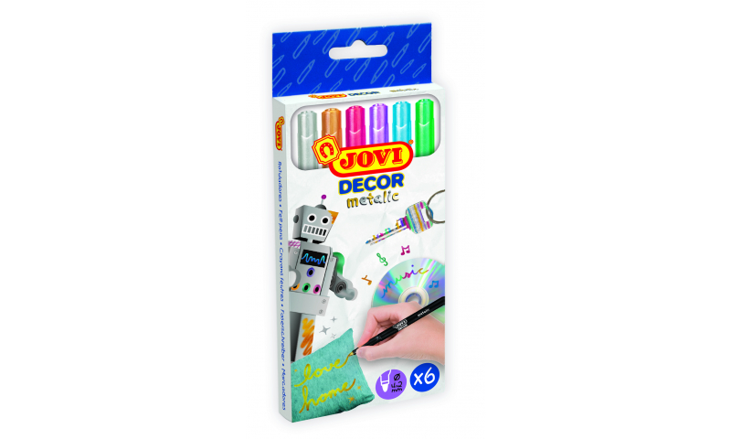 JOVI Decorate Metallic Markers, Hangpack of 6 assorted colours.  (New Lower Price for 2021)