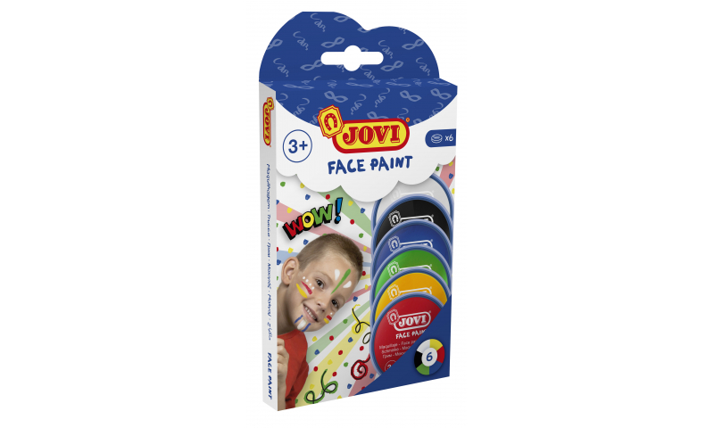 JOVI Easy Wash Cream Face Paint  - Hangpack of 6 Primary Colours - 8ml.