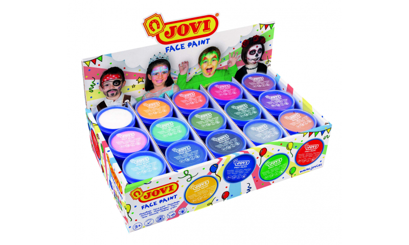 JOVI Easy Wash Cream Face Paint  - display of 75, 15 Colours- 8ml.