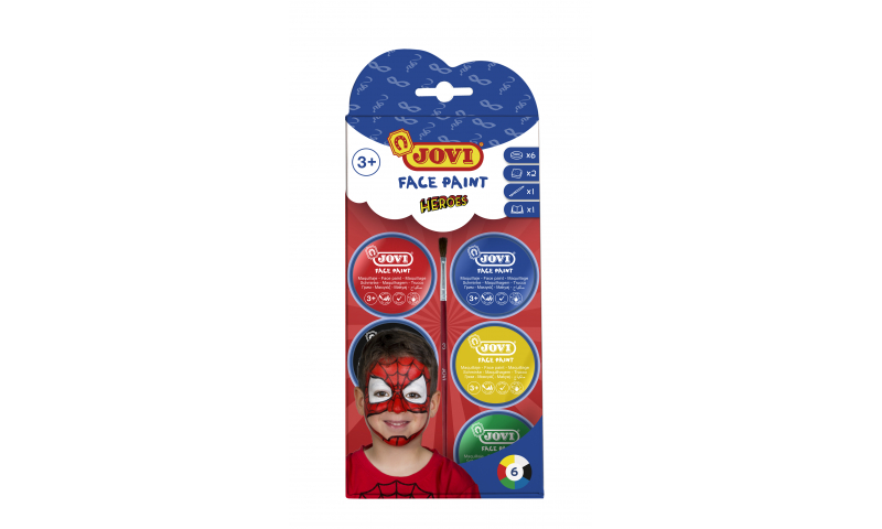 JOVI Easy Wash Cream Face Paint HEROES - kit - 6 units 8ml + brush + sponges