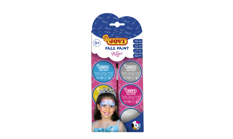 JOVI Easy Wash Cream Face Paint PRINCESS - kit - 6 units 8ml + brush + sponges
